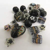 Multicolored  Black Glass Beads Hearts Oval  Circle Foiled Beads Jewelry Supplies