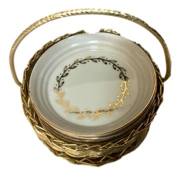Lefton China Hand Painted Gold Leaf Coaster Set