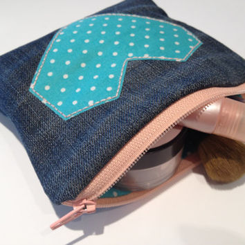 Zippered Heart Denim Coin Purse