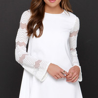 New Clue Ivory Long Sleeve Embroidered Dress
