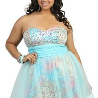 plus size strapless party dress with iridescent stones and bead bodice - debshops.com