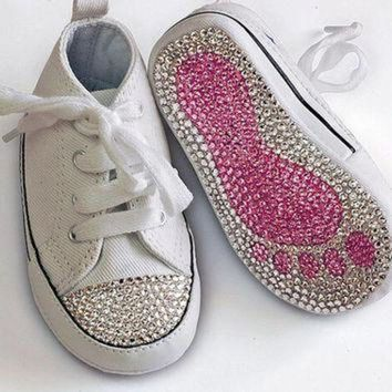 DCCK1IN swarovski crystal embellished converse all star baby toddler crib shoe