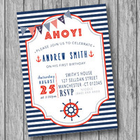 Nautical Birthday Invitation, Nautical Invitation, Nautical Birthday Party, Nautical Invite, Nautical DIY, Anchor, Invitation (PRINTABLE)