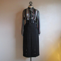 80s Black Slick Pencil Skirt Peggy Lane Vintage Rockabilly Style 80s Stripe Plisse Midi Skirt Small 38