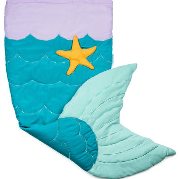 Twinklette Quilted & Embroidered Mermaid Tail Blanket with Pocket & Fleece Lining (Age 3 - 12)