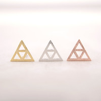 Gold/ Silver/ Pink Gold Tri-Trianlge studs Earrings
