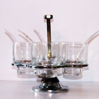 NIB 50's Kitchen Condiment Server - Hellerware Chrome & Wood stand with Glass Inserts - 4 Spoons