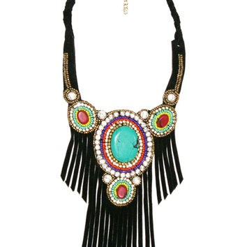 Black Leather Fringe Necklace Turquoise Coral Indian Seed Beads Vegan Suede Boho Statement Bib Tribal Hippie Gypsy Bling