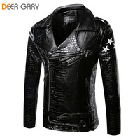 Men's big lapel Collar, zipper to one side, Pu Leather Motorcycle jacket