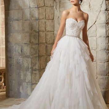Mori Lee 5366Lace Ball Gown wedding gown,  Ivory Size 16