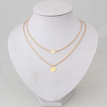 New simple wild Peace Dove Double Necklace Women's metal clavicle chain alloy jewelry