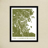 Fallout 4 The Commonwealth Map Print | Boston Commonwealth Map Poster | Video Game World Map Art | Block Print Style | Video Game Art