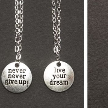Inspirational Never Give Up Charm Necklaces | 3 Designs