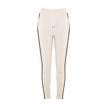 Colour Block Tailored Joggers - Beige