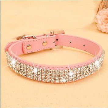 Personalized Dog Cat Pet Collar | BLING PU Leather | Rhinestone Diamante