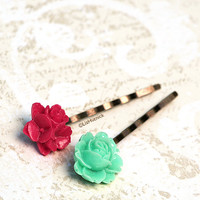 Mint and Cherry Flower Bobby Pins. Hair Accessories