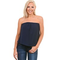 Navy Strapless Top