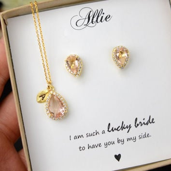 Personalized Bridesmaid Gift, Rose Gold Bridesmaid Earrings Necklace Bracelet, Bridesmaid Jewelry Set, Mother of Bride Gift,Bridesmaid Gifts