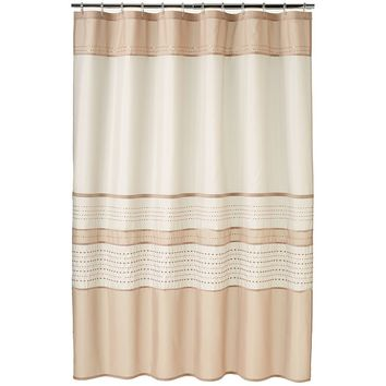 Home Classics Embroidered Sequin Fabric Shower Curtain (Brown)