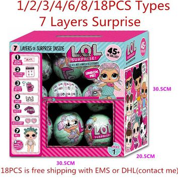 LOL Surprise Doll 7 Layers Surprise LOL Dolls Magic Funny Removable Egg Ball Educational Dress Up Toys L.O.L. Dolls Makeup Tool