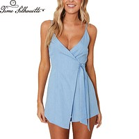 2017 women Summer romper sexy deep v-neck rompers Elegant jumpsuits beach sleeveless overalls zipper Backless playsuit L49
