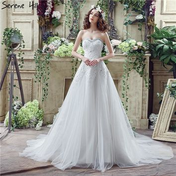 White High-end Sexy Bridal Wedding Dresses 2018 Diamonds Beading Sleeveless Fashion Wedding Gowns Robe De Mariage