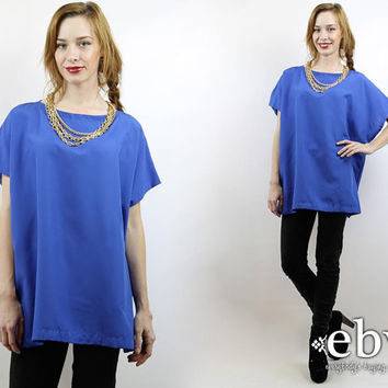Oversized Blouse Oversized Shirt Oversized Top Minimalist Top Blue Blouse Blue Shirt Blue Top Vintage 90s Blue Oversized Tunic L XL