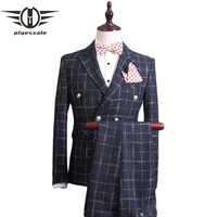Double Breasted Slim Fit Suit Men Plaid Suits Groom Wedding Suit Male Business Formal Wear