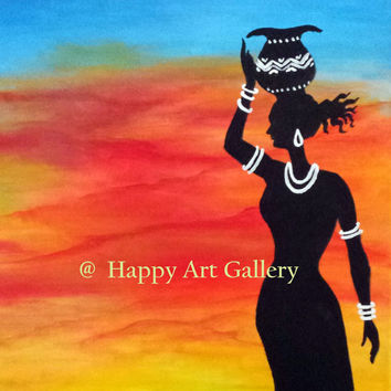 Desert Girl at Sunset- Desert landscape painting African desert sunset original painting gorgeous desert sunset African girl Tribal girl art