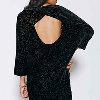 Silence + Noise Velvet Naomi Open-Back Frock Dress- Black Multi