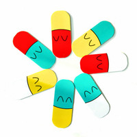 Happy Pill Capsules Giant Mini Notecard Tags (Pack of 7)