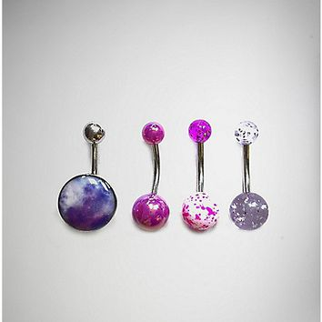 14 Gauge Purple Galaxy Belly Ring - Spencer's