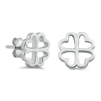 .925 Sterling Silver Heart Four Leaf Clover Ladies and Kids Stud Earrings
