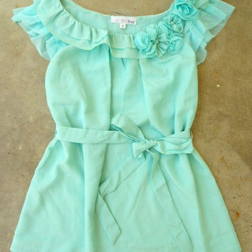 Ruffles with Rosette Mint Blouse