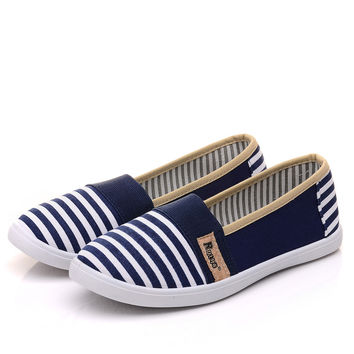 2016 Women Striped Slip-On Canvas Shoes Summer Female Pointed Toe Loafers Flower Flats Lazy Footwear Zapatos Femeninos SS1606055