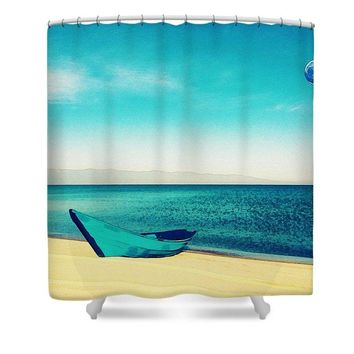 The Beach Is Calling Watercolor Art By Adam Asar - Asar Studios - Shower Curtain