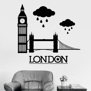 Vinyl Wall Decal London Big Ben United Kingdom UK England Stickers Unique Gift (ig3403)