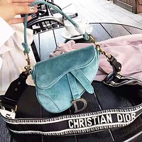DIOR Fashion Women Shopping Bag Velvet Handbag Shoulder Bag Saddle Bag Satchel Blue