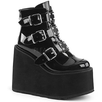 "Swing 105 Black Patent Multiple Buckle Ankle Boot 5.5"" Platform"
