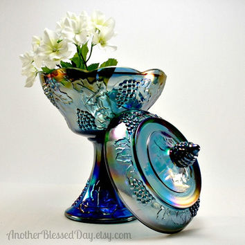 Indiana Blue Harvest Grape Carnival Glass Compote