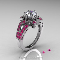 Art Deco 950 Platinum 1.0 Ct Russian CZ Pink Sapphire Wedding Ring, Engagement Ring R286-PLATPSCZ