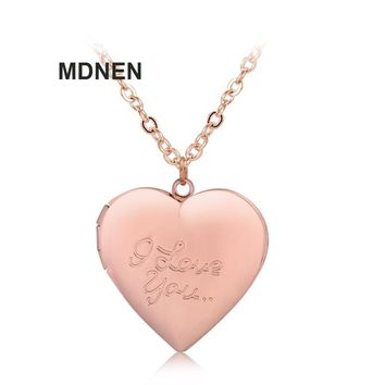 New 1PCS Openable Silver Rose Gold I LOVE YOU Heart Necklaces Kids Necklace For Children Jewelry, Birthday Gifts,MDNEN