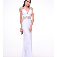 Ivory & Gold Sequin Cap Sleeve Sheer Back Dress 2015 Prom Dresses