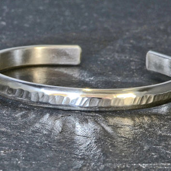 Half round sterling silver cuff bracelet with Tree Bark Texture aka Riveting Hammered Pattern