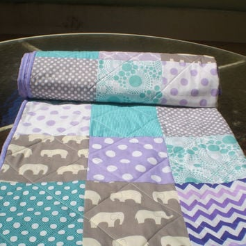 Modern baby quilt,teal,grey,purple,baby girl quilt,baby boy bedding,patchwork crib quilt,woodland,organic,elephants,chevrons-Birch Ellie