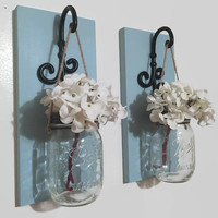 Set of TWO Mason Jar Sconces/Wood Wall Decor/ Farmhouse Decor/Cottage Decor/Hanging Mason Jar/ Hanging Flowers/Rustic Farmhouse