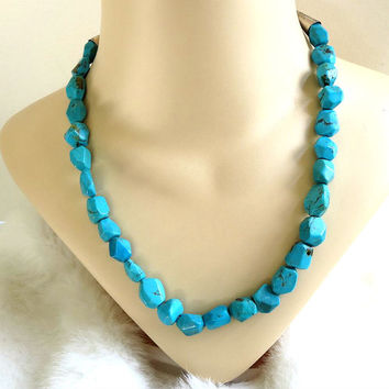 Vintage Large & Chunky Faux Turquoise Nugget Necklace with Silver Cones