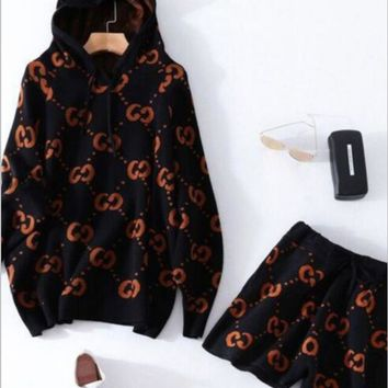Gucci Trending Fashion Casual Long Sleeve Shorts Double G Print Pullover Sweater Two Piece Set Black+Orange G