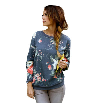 2016 New Fashion Floral pattern Women Pullovers O-Neck Collar Casual Slim hoody  Size S-XXL Picture Color