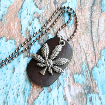 Cannabis necklace, leaf necklace, mens necklace, leather necklace, leather pendant, gift for him, leaf pendant, cannabis pendant